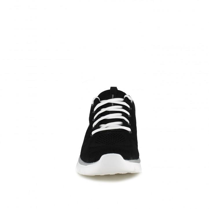 zapatillas deportivas SKECHERS memory foam negras con cordones blancos - Querol online