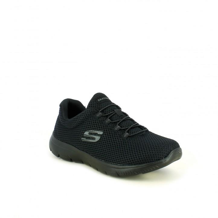 zapatillas deportivas SKECHERS memory foam negras textura - Querol online