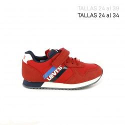 Zapatillas deporte Levi's Kids rojas con logotipo blanco - Querol online