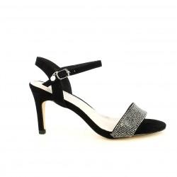 Zapatos tacón Xti negros de antelina con detalles brillantes - Querol online