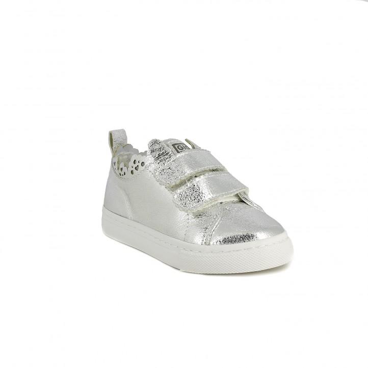 Zapatillas lona Gioseppo grises metalizadas con velcros - Querol online