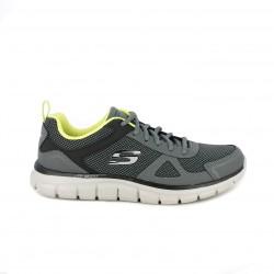 Zapatillas deportivas Skechers memory foam grises con detalles flúor - Querol online