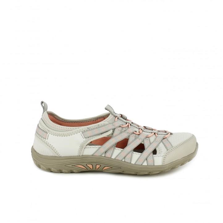 Zapatos planos Skechers relaxed fit con memory foam beige y salmón - Querol online