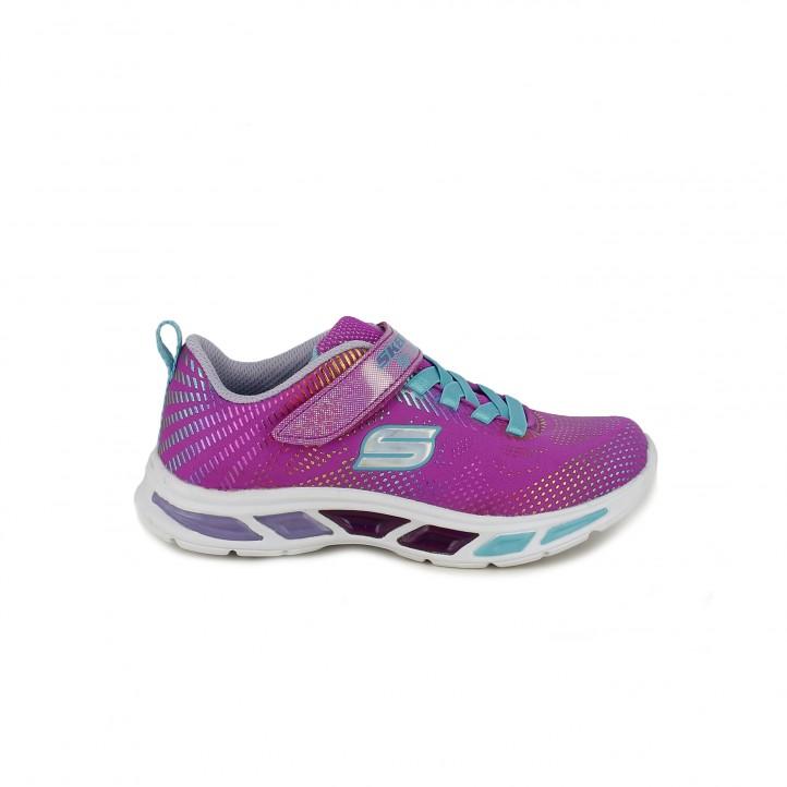 5161abbe11a2b Zapatillas deporte Skechers rosas y azules con luces - Querol online ...