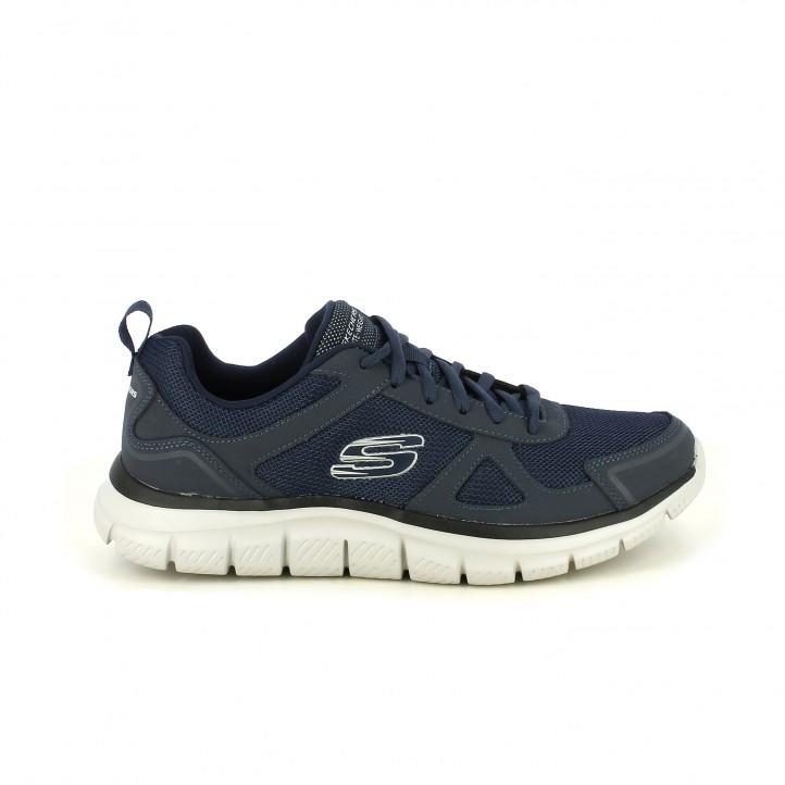 6b9bcab4d0 Zapatillas deportivas Skechers memory foam azul marino con cordones -  Querol online ...