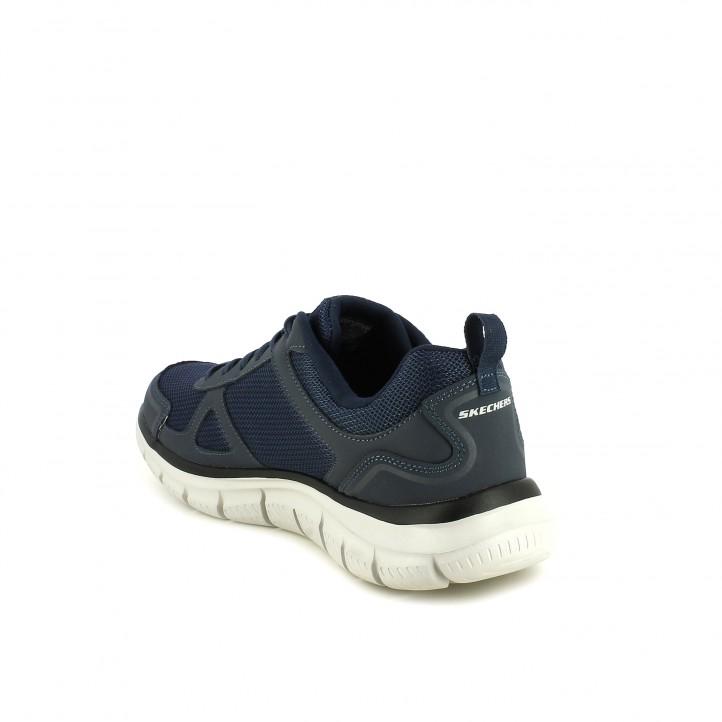 Zapatillas deportivas Skechers memory foam azul marino con cordones - Querol online