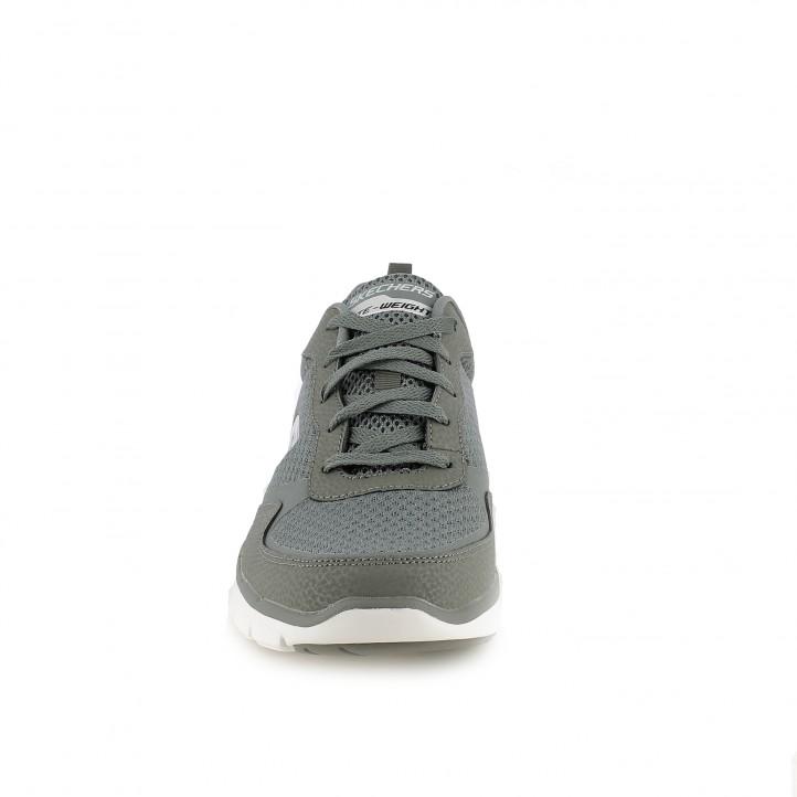 Zapatillas deportivas Skechers memory foam grises de cordones - Querol online