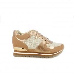 Zapatillas deportivas Gioseppo doradas con tonos rosados y cordones - Querol online