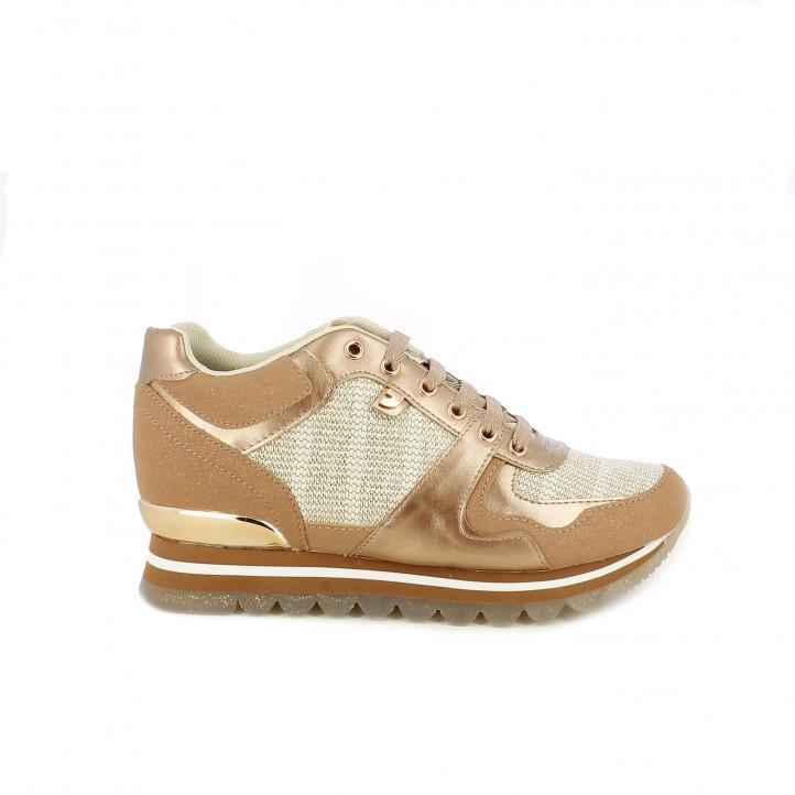 a2cee149c50e2 Zapatillas deportivas Gioseppo doradas con tonos rosados y cordones -  Querol online ...