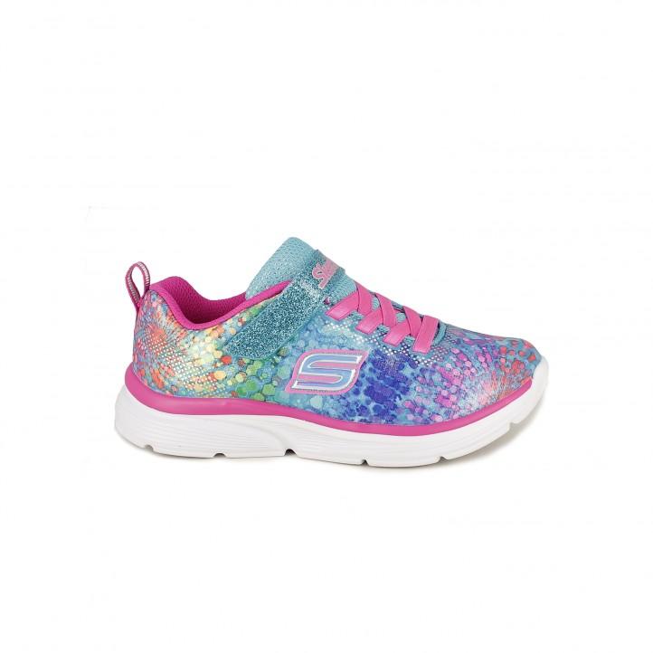 Zapatillas deporte Skechers multicolor con cordones y velcro - Querol online