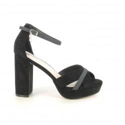 Zapatos tacón Xti negros de antelina con tiras cruzadas - Querol online