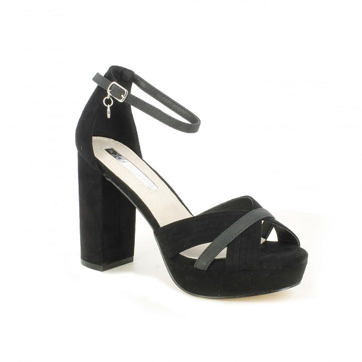 970e023eb ... Zapatos tacón Xti negros de antelina con tiras cruzadas - Querol online  ...