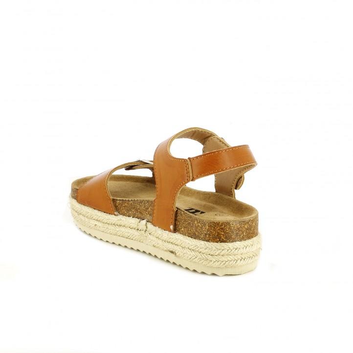 sandalias Xti marrones con plataforma de esparto con tiras y hebillas - Querol online