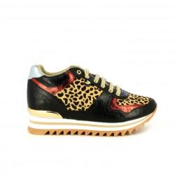 Zapatillas deportivas Gioseppo de plataforma con estampado leopardo y detalles napa - Querol online