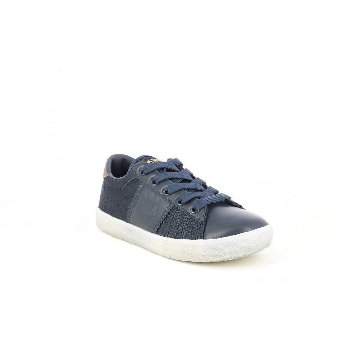 Zapatos Xti azul marino con cordones y detalle marrón - Querol online