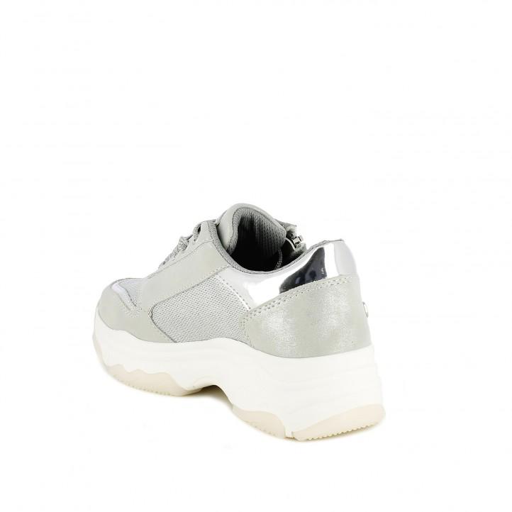 Zapatillas deporte Xti grises metalizadas con plataforma - Querol online