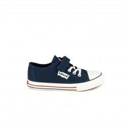 Zapatillas lona Levi's azul marino con cordones y velcro - Querol online