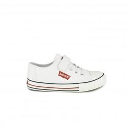Zapatillas lona Levi's blancas con cordones y velcro - Querol online