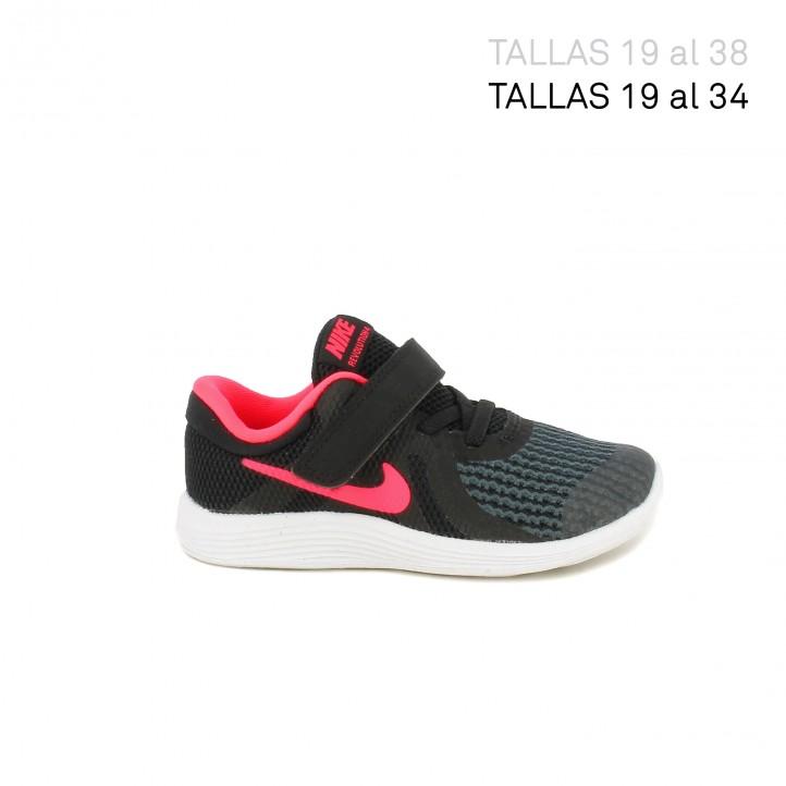Zapatillas deporte Nike revolution 4 negras con detalles fucsia - Querol online