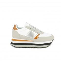 Zapatillas deportivas Victoria blancas, grises y doradas con plataforma - Querol online