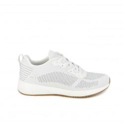 Zapatillas deportivas Skechers bobs sport blancas con purpurina - Querol online