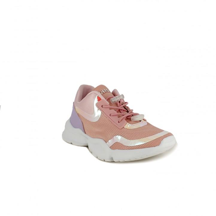 Sabatilles esport QUETS! roses pastel de cordons amb detalls brillants - Querol online