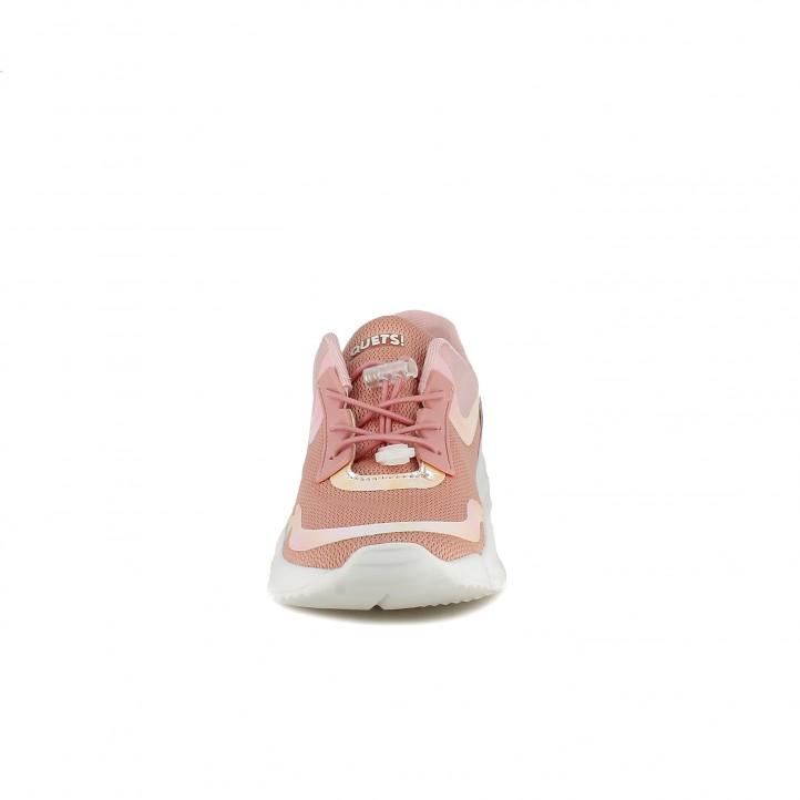 Zapatillas deporte QUETS! rosas pastel de cordones con detalles brillantes - Querol online