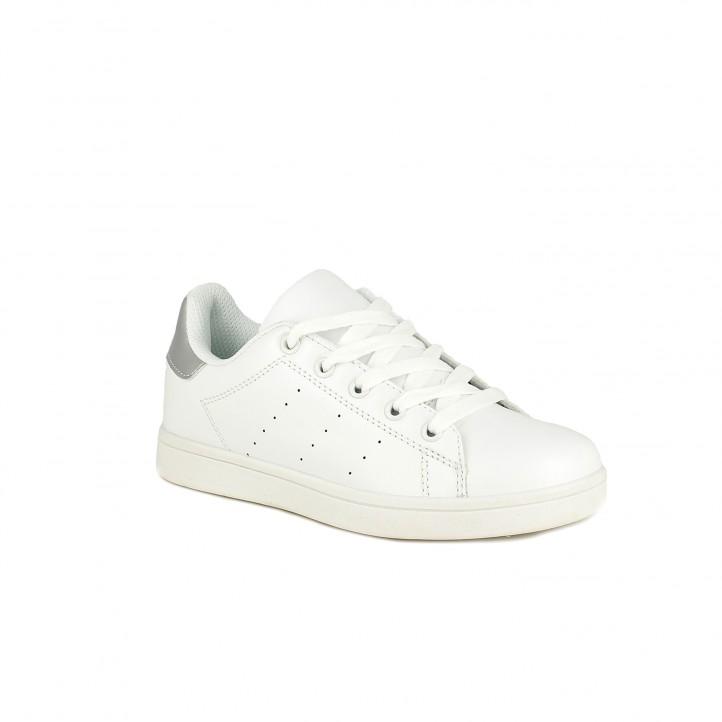 Zapatillas deporte QUETS! blancas con cordones y detalle plateado - Querol online
