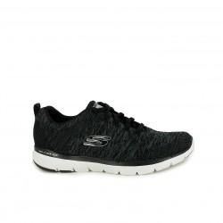Zapatillas deportivas Skechers memory foam negras con suela blanca - Querol online