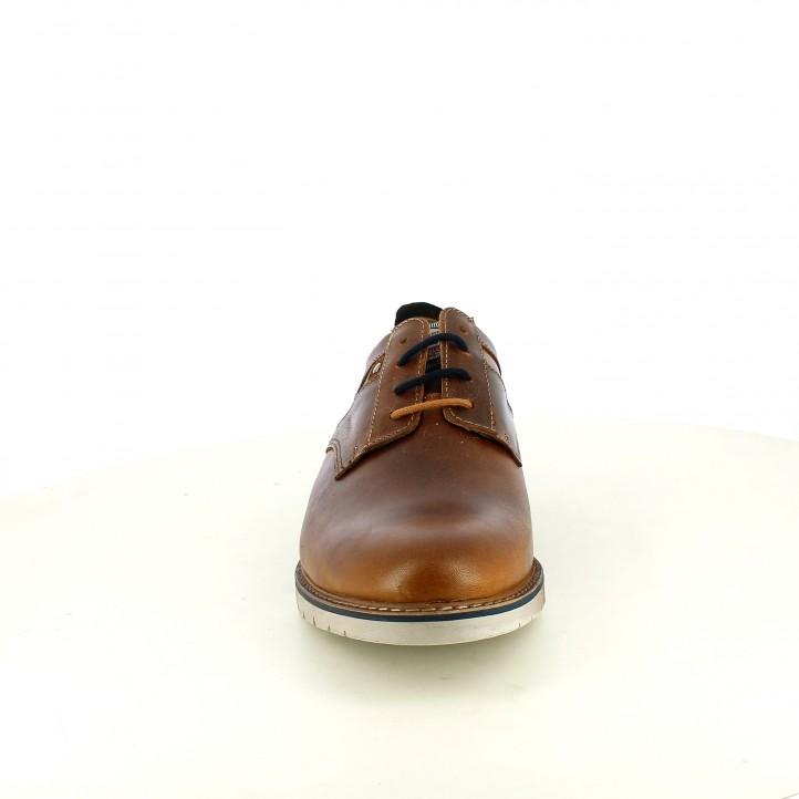 Zapatos vestir Lobo de piel marrones con cordones y detalles azules - Querol online
