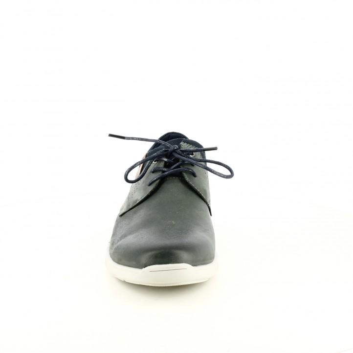 Zapatos vestir Vicmart azul marino de piel y cordones - Querol online