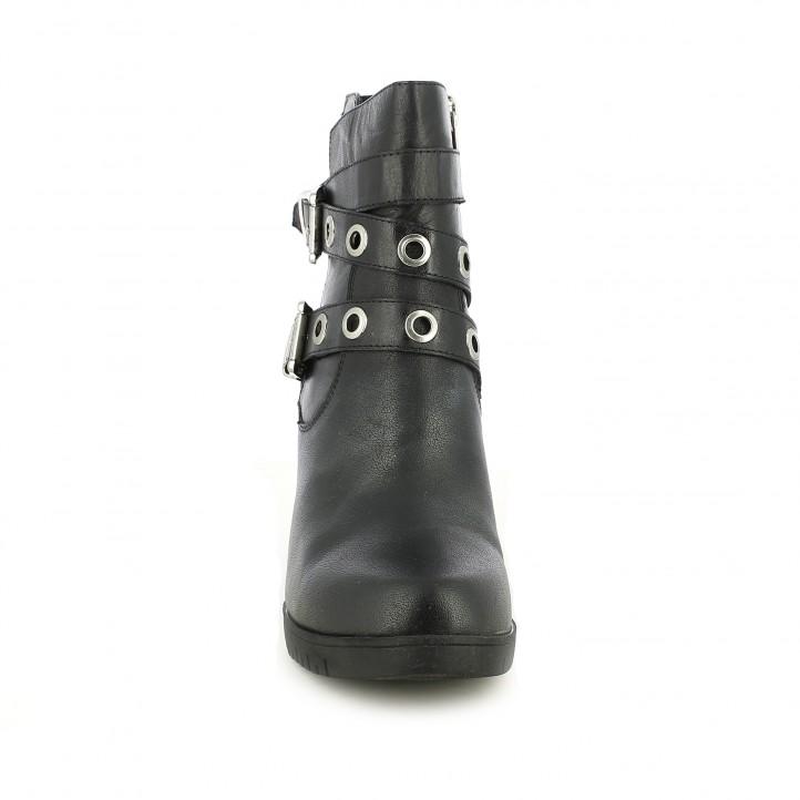 Botines tacón CARMELA de piel negros con doble hebilla - Querol online