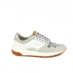 Zapatillas deportivas Pepe Jeans grises y blancas con cordones de purpurina - Querol online