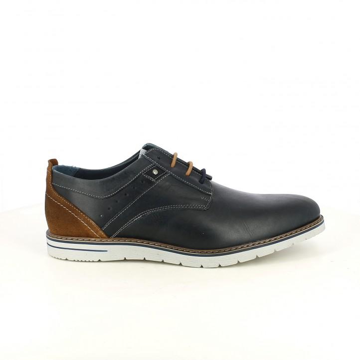 Zapatos vestir Lobo de piel azul marino con cordones y detalles marrones - Querol online