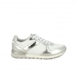 Zapatillas deportivas Pepe Jeans blancas y plateadas con cordones - Querol online