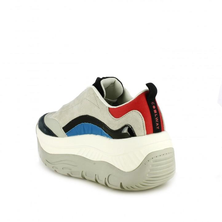 Zapatillas deportivas COOLWAY con plataforma grises, azules y rojas - Querol online
