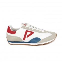 Sabatilles esportives Pepe Jeans blanques amb detalls blaus i vermells - Querol online