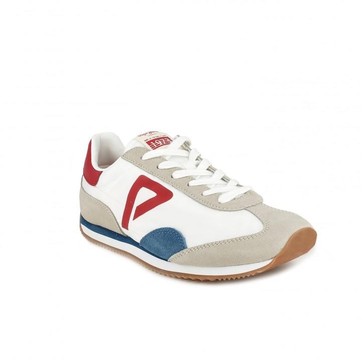 Zapatillas deportivas Pepe Jeans blancas con detalles azules y rojos - Querol online