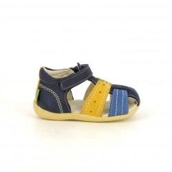 sandalias Kickers azules y amarillas cerradas con velcro - Querol online