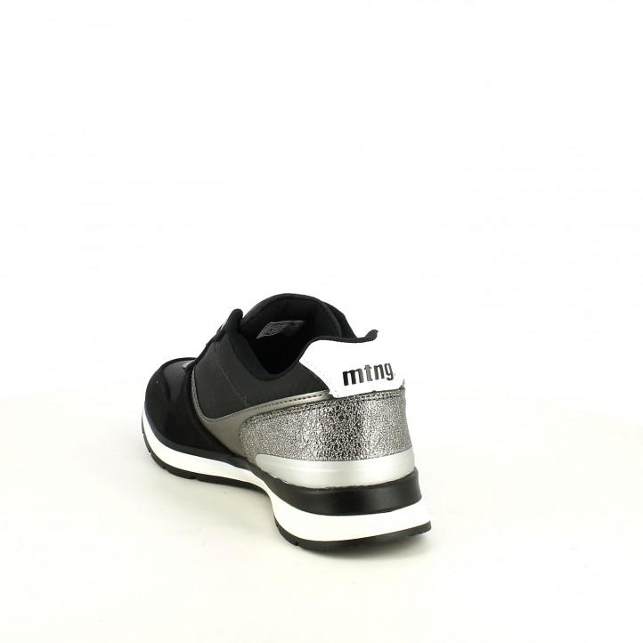 Zapatillas deportivas Mustang negras con detalles plateados - Querol online