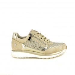 Zapatillas deportivas Xti marrones y doradas con brillantes y cremallera - Querol online