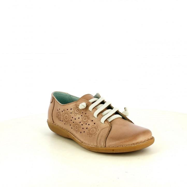 Zapatos planos Suite009 taupe con cordones elásticos y detalles florales - Querol online