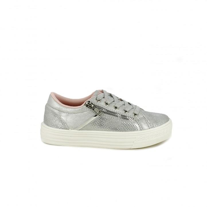 Zapatillas deporte Xti grises metalizadas con cordones y cremallera lateral - Querol online