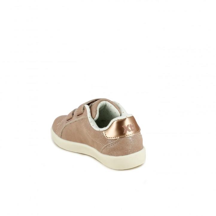 Zapatillas deporte Xti rosas brillantes con velcros y estrellas - Querol online