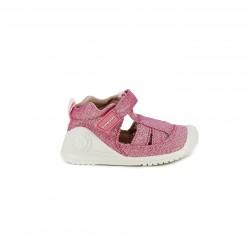 sandalias Biomecanics rosas con purpurina cerradas - Querol online