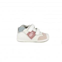 Zapatillas Biomecanics blancas, azules y rosas - Querol online
