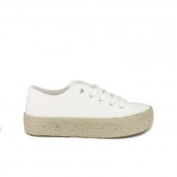 Zapatillas lona Owel blancas con plataforma de esparto - Querol online