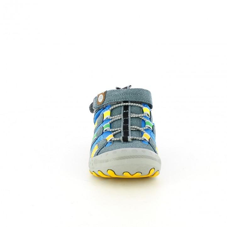 sandalias Gioseppo cerradas grises y azules con doble velcro - Querol online
