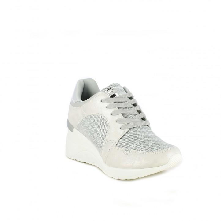 Zapatillas deportivas Maria Mare gris metalizado con plataforma y cordones - Querol online