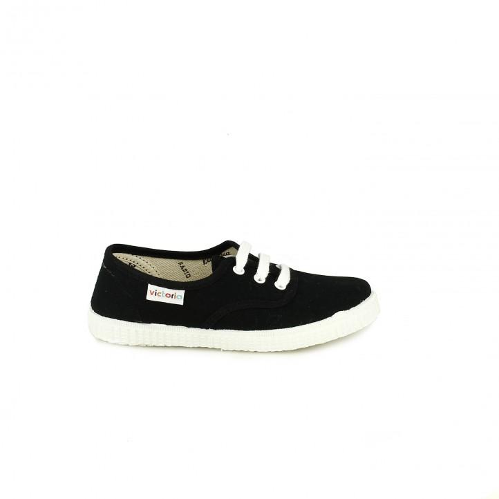 Zapatillas lona Victoria negras bajas con cordones blancos - Querol online